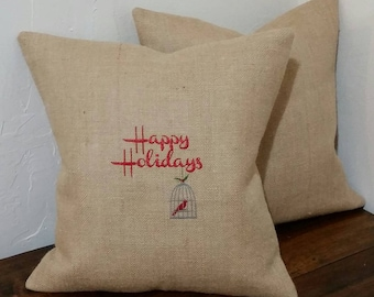 HAPPY HOLIDAYS!  Christmas Pillow Cover