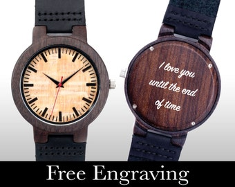 Engraved Watch, Wood Watch, Engraved Wood Watch, Wooden Watch, Blonde Face, Personalized Gift, Gifts For Him, Christmas