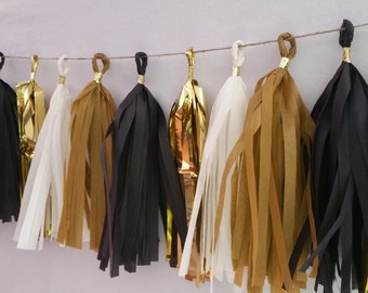 Academy Awards, Black and Gold Tissue Paper Tassel Garland, Oscars Party Decorations, Wedding Decorations, Tassel Garland, Party Banner