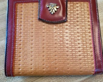 Vintage By Bosca Red and Faux Basket Weave Tan Leather Wallet