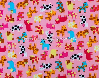 Animal pattern - fabric rose - farm animal pattern fabric - fabric pattern cow pig sheep horse - fabric 50x50cm TU197