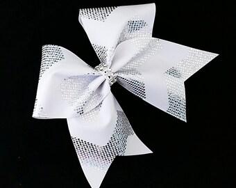 White cheer bow, Chevron cheer bow, Cheer bow, cheer bows, cheerleader bow, cheerleading bow, softball bow, cheerbows, large hair bow, bow