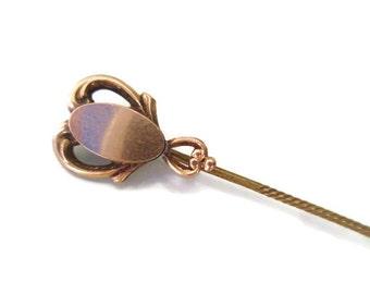 Vintage Edwardian Victorian Art Nouveau Rose Gold Front Engravable Signet Cravat Scarf Stick Pin