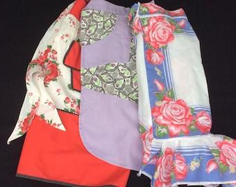 Three Vintage Aprons, Half Apron, 1950's Apron, Hostess Handkerchief Apron, Serving Apron