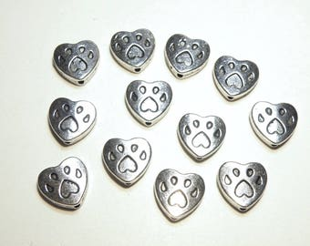 12 Pewter Paw Print Heart Spacer Beads