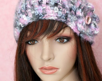 Hat - Variegated gray/pink/white/black - with coordinating flower/jeweled button