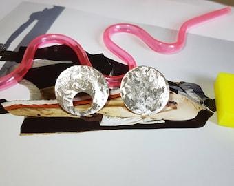 Circle Earrings | Big Stud Earrings | Mismatched Earrings | Geometric Jewelry | Statement Earrings | Sterling Silver