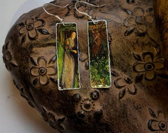 Ophelia Upcycled Lightweight Art Tin  Earrings 925 Sterling Silver Ear Wires Boho Hippy  Wearable Art