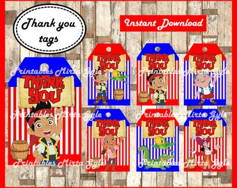 jake and the neverland pirates Thank you Tags, printable jake and the neverland pirates party Thank you Tags, Jake Thank you Tags