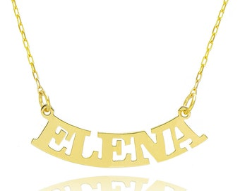 14K Yellow Gold Personalized Curved Name Necklace - Custom Made Any Name