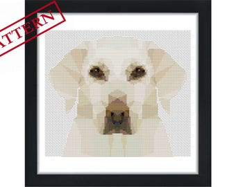 Labrador Retriever Dog  - Low Poly Art  - Counted Cross Stitch Pattern - Instant Download
