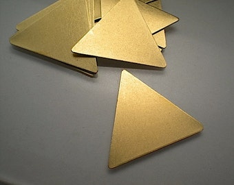 12 large flat brass triangle stamping blanks