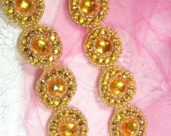 "0379 Gold Round Jewel Rhinestone Beaded Trim 1.25""  ( Use for Sewing and Crafts )"