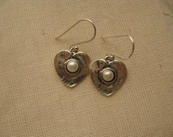 Silver Heart Earrings, Pearl Earrings, Silver Hearts, Heart Charm Pearl Earrings Sweet Sixteen Jewelry Sterling Silver Heart Pendant