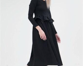 Black dress Black dresses Long black dress Black midi dress Сasual black dress Elegant Black dresses black jersey dress