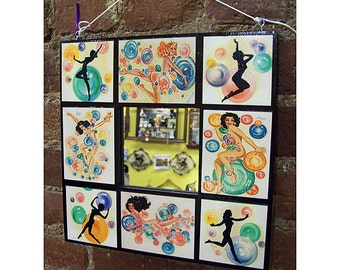 retro pin up girl mirror vintage deco bubble burlesque pin up rockabilly wall mirror