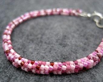 Beaded Rope Bracelet - Pink by randomcreative on Etsy