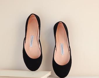 The Nubuck Ballet Flats in Black | Ballerinas Style Shoes | Summer Flats | Classic Model | Standard Width | Black Nubuck | Ready to Ship