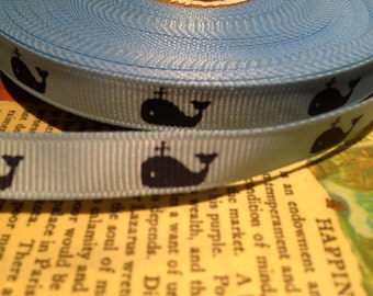 "3 yards  3/8""  Preppy Navy WHALES on Light Blue Grosgrain Ribbon"