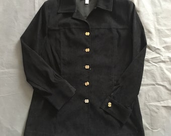St John Marie Gray Santana Blazer Beautiful Buttons Suede Small