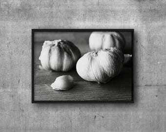 Food Photography - Digital Download - Garlic Print - Black and White Food Photography - Black and White Food Printable