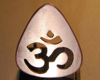 """Copper Guitar Pick Om """"Aum"""" Cut Out to Inspire the Divine Musical Spark - GP959"""