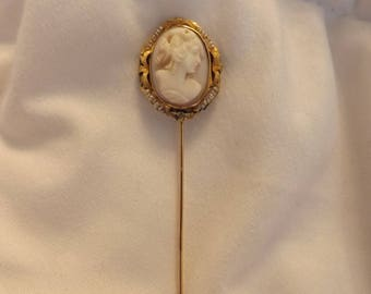 Victorian 10k Yellow Gold Seed Pearl Pink Shell Cameo Stick Pin