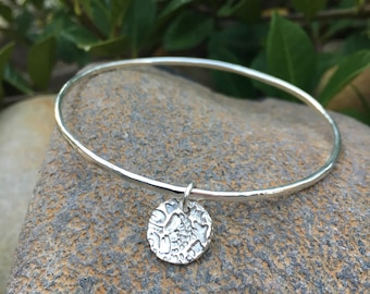 Hammered Textured Silver Bangle with Embossed Charm