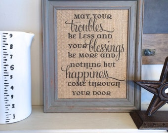 Irish Blessing Burlap Sign Art Print - Cotton Art Print - Vintage Farmhouse Shabby Chic Celtic Wedding Gift Anniversary - Housewarming Gift