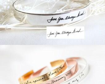 Handwriting cuff bracelet - Handwriting cuff bangle - Signature cuff - Handwriting jewelry - memorial jewelry - open cuff bracelet
