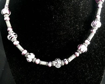 Purple Corina Tettinger Lampwork Bead with Sterling Silver Necklace