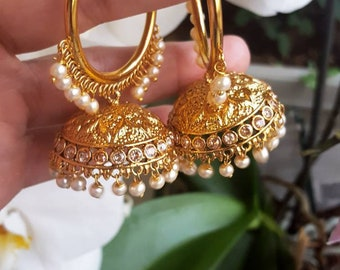Gold and Pearl Hoop Earrings - Traditional Gold Wali, Punjabi Vali Earrings, Indian Hoop Earrings, Indian Jewelry, Indian Wedding Earrings