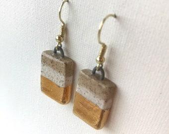 Gold & white or black and tan ceramic rectangular drop earrings, handmade clay rectangle earrings, white stripe, sandy, modern minimalist