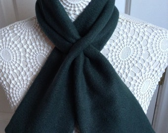 Dark green fleece ascot keyhole neck scarf silky lined steam punk vintage retro style vegan neck warmer scarflette