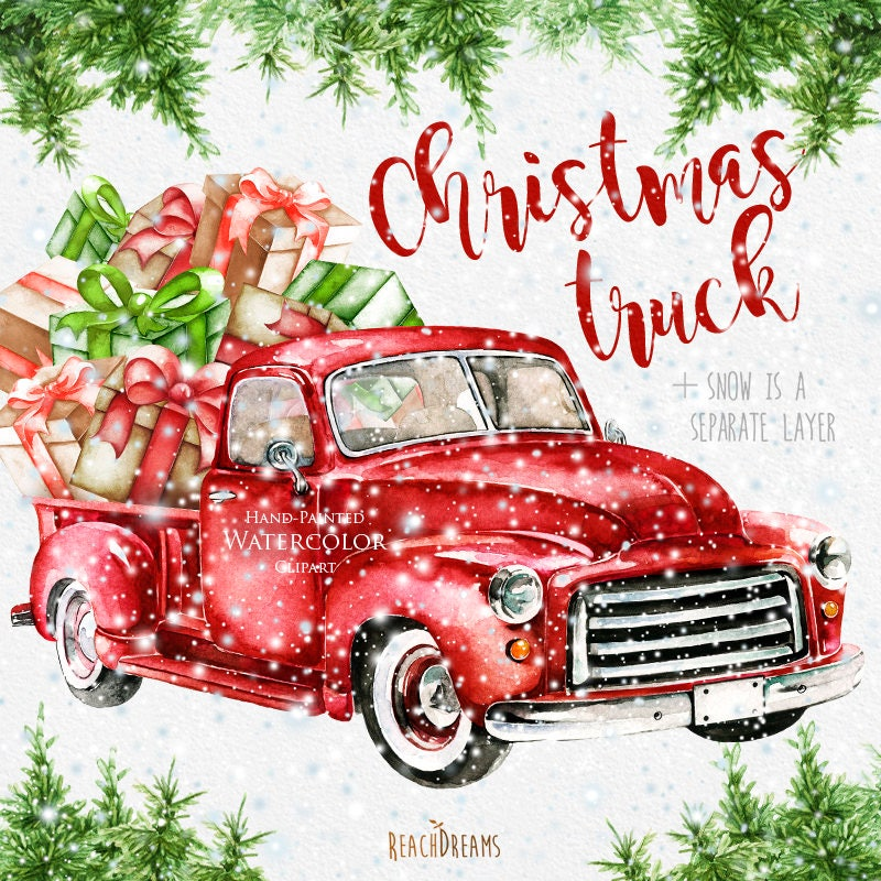 Free Christmas Tree Pick Up: Watercolor Christmas Truck Vintage Red Pickup Pine Tree