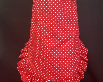 Red Apron Dress with White Polka Dots