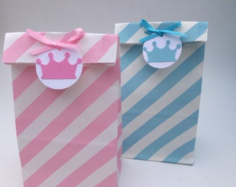 Princess Favor Bags: Prince Favor Bags, Pink Stripped Paper Candy Bags, Favor Bags, Goody Bags