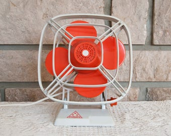 Vintage fan - Vintage desk fan - Orange fan - Antique fan - Retro fan - Electric fan - Old fan - Small fan - Wall fan Standing fan Table fan