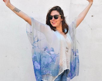 Sheer Kimono: Blue Bird and Seafoam Floral Sheer Kimono Bathing Suit Cover Up