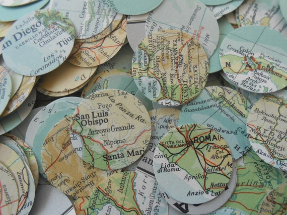 1000 Vintage Map Confetti. Turquoise, Ivory, Ochre, Beige, Green. World Map. Or CHOOSE YOUR MAP. Heart Shaped. Custom Orders Welcome.