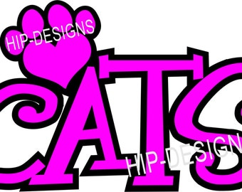 SVG File Cut File CATS with Paw School Shirt School Spirit
