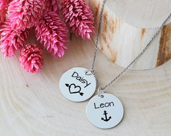 Couple Names Necklace, Custom Necklace, Name Necklace, Love Necklace, Family Necklace, Symbol Necklace, Silver Necklace, Gold, Rose, Gift
