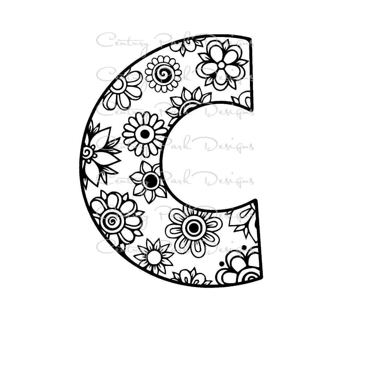 Letter C Alphabet Flowers SVG / JPEG / PNG /pdf / use with