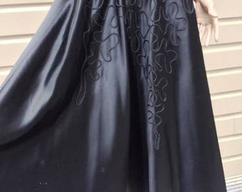 Vintage Black Silk Satin Circle Skirt with Soutache Detail, ca 1950s
