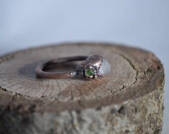 Quartz Crystal,Green Garnet, Copper Electroformed Ring, Raw Organic Crystal, Electroformed Jewelry,boho,Quartz Crystal Ring,Demantoid,Size 7