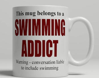 Swiming mug, swimmer mug, swimming coffee mug, swimmer coffee mug, swimmer gift, swimming gift, mug swimmer, mug swimming EB addict swimmer