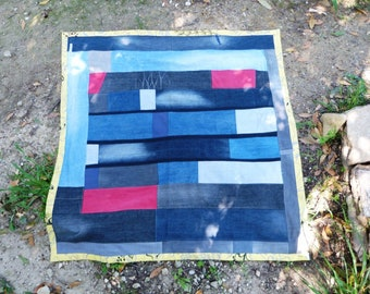 Beach rug or picknick-plaid recycled denim and tablecloth