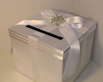 Wedding Card Box White and White Gift Card Box Money Box  Holder--Customize your color