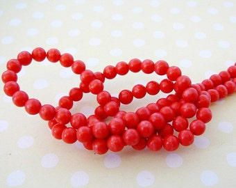 Coral Beads 4mm (reconstituted) Round