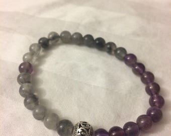 Amethyst and Grey Cloud Quartz Gemstone Bracelet - Energy Bracelet - Healing Bracelet - Calming Bracelet - Boho Chic